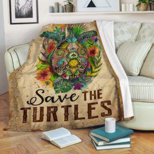 Turtle Flower Art - Save theTurtles Blanket@_animallovepro_gfhgj@premium-blanket Turtle Flower Art - Save Theturtles Blanket Fleece Blanket, Personalized Gifts, Custom Blanket 592628