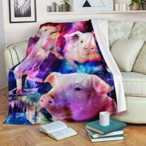 Pig - Galaxy Magic Art Blanket@_animallovepro_sfdfsf@premium-blanket Pig - Galaxy Magic Art Blanket Fleece Blanket, Personalized Gifts, Custom Blanket 592407