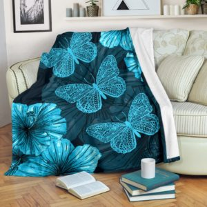 Butterfly With hibiscus Blanket@_animallovepro_Butterfly56sf@premium-blanket Butterfly With Hibiscus Blanket Fleece Blanket, Personalized Gifts, Custom Blanket 591524