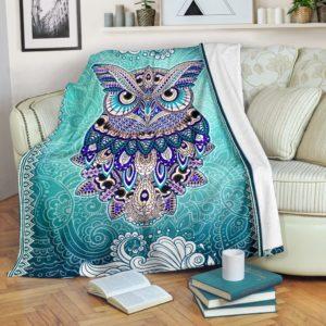 Owl Mandala Art Color Blanket@_animallovepro_fhkj@premium-blanket Owl Mandala Art Color Blanket Fleece Blanket, Personalized Gifts, Custom Blanket 591498