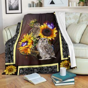 Owl dark sunflower blanket@_shoesnp_dt_10_Owl_dark_sunflower_blanket@premium-blanket Owl Dark Sunflower Blanket Fleece Blanket, Personalized Gifts, Custom Blanket 591472