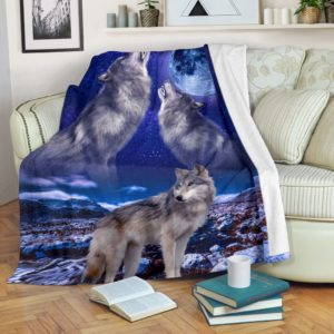 wolf sky night blanket@_shoesnp_dt_d_wolf_sky_night_blanket@premium-blanket Wolf Sky Night Blanket Fleece Blanket, Personalized Gifts, Custom Blanket 591368