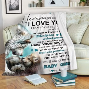 Wolf - To my daughter blanket NAL@_animallovepro_wolf124@premium-blanket Wolf - To My Daughter Blanket Nal Fleece Blanket, Personalized Gifts, Custom Blanket 591329