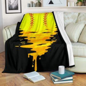 Softball - Melting Sun Blanket@_summerlifepro_dgfhfgh@premium-blanket Softball - Melting Sun Blanket Fleece Blanket, Personalized Gifts, Custom Blanket 591186