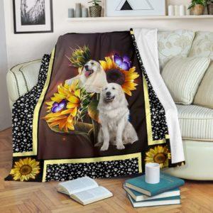 great pyrenees dark sunflower blanket@_shoesnp_dt_10_great_pyrenees_dark_sunflower_blanket@premium-blanket Great Pyrenees Dark Sunflower Blanket Fleece Blanket, Personalized Gifts, Custom Blanket 591095