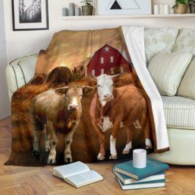 Cow Farm Sunset Blanket Fleece Blanket, Personalized Gifts, Custom Blanket