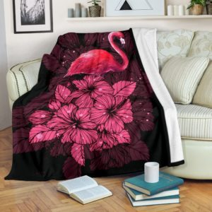 Flamingo hibiscus flower pattern blanket@_shoesnp_lt_7_flamingo_hibiscus_flower_pattern_blanket@premium-blanket Flamingo Hibiscus Flower Pattern Blanket Fleece Blanket, Personalized Gifts, Custom Blanket 590629
