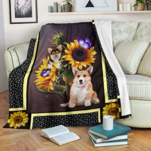 Corgi dark sunflower blanket d@_shoesnp_dt_Corgi_dark_sunflower_blanket_d@premium-blanket Corgi Dark Sunflower Blanket D Fleece Blanket, Personalized Gifts, Custom Blanket 590487