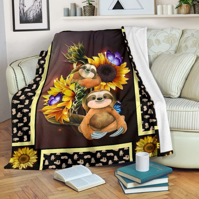 Sloth dark blanket sunflower@_shoesnp_dt_10_Sloth_dark_blanket_sunflower@premium-blanket Sloth Dark Blanket Sunflower Fleece Blanket, Personalized Gifts, Custom Blanket 590345