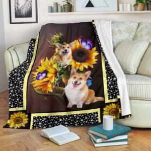 Corgi dark sunflower blanket@_shoesnp_Dt_10_Corgi_dark_sunflower_blanket@premium-blanket Corgi Dark Sunflower Blanket Fleece Blanket, Personalized Gifts, Custom Blanket 590168