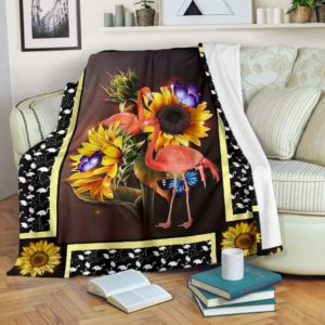 Flamingo dark sunflower blanket@_shoesnp_dt_10_Flamingo_dark_sunflower_blanket@premium-blanket Flamingo Dark Sunflower Blanket Fleece Blanket, Personalized Gifts, Custom Blanket 590090