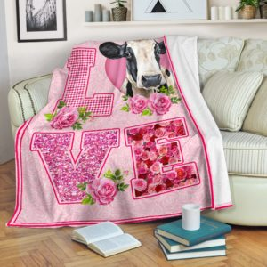 COW LOVE ROSE PINK BLANKET@_animallovepro_cowlove98394@premium-blanket Cow Love Rose Pink Blanket Fleece Blanket, Personalized Gifts, Custom Blanket 589856
