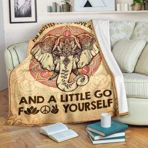 Elephant - I'm mostly peace love@_animallovepro_mostele89438@premium-blanket Elephant - I'M Mostly Peace Love Fleece Blanket, Personalized Gifts, Custom Blanket 589479