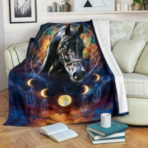 Horse - Black Horse Dreamcatcher Moon BLANKET NAL@_animallovepro_horsedr9163@premium-blanket Horse - Black Horse Dreamcatcher Moon Blanket Nal Fleece Blanket, Personalized Gifts, Custom Blanket 589271