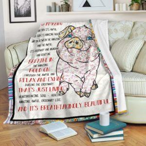 Pig - Life is Amazing Blanket SKY@_animallovepro_piglife9849@premium-blanket Pig - Life Is Amazing Blanket Sky Fleece Blanket, Personalized Gifts, Custom Blanket 588894