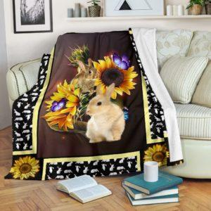 Rabbit dark sunflower blanket@_shoesnp_dt_10_Rabbit_dark_sunflower_blanket@premium-blanket Rabbit Dark Sunflower Blanket Fleece Blanket, Personalized Gifts, Custom Blanket 588881