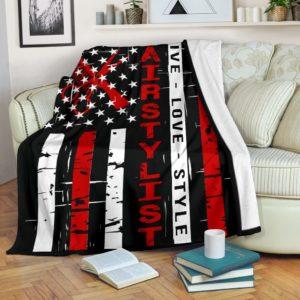 Hair Stylist - Live love Flag Blanket@_proudteaching_hairlive6563@premium-blanket Hair Stylist - Live Love Flag Blanket Fleece Blanket, Personalized Gifts, Custom Blanket 588417