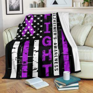 Alzheimer's Awareness - Fight Flag Blanket@_proudteaching_alzfla6456@premium-blanket Alzheimer'S Awareness - Fight Flag Blanket Fleece Blanket, Personalized Gifts, Custom Blanket 588404