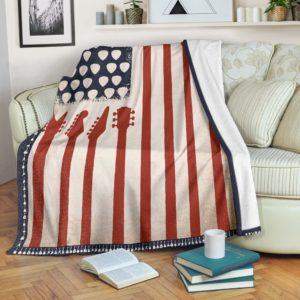 American Flag patriotic Guitar Blanket@_proudteaching_patriotic454Guitar@premium-blanket American Flag Patriotic Guitar Blanket Fleece Blanket, Personalized Gifts, Custom Blanket 587826