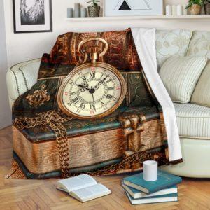 BOOK CLOCK VINTAGE PRE BLANKET@_proudteaching_BOO2b323@premium-blanket Book Clock Vintage Pre Blanket Fleece Blanket, Personalized Gifts, Custom Blanket 587761