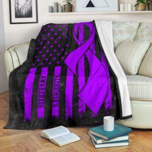 alzheimer's AMERICAN FLAG BLACK BLANKET@_proudteaching_alzheiv122vb323b@premium-blanket Alzheimer'S American Flag Black Blanket Fleece Blanket, Personalized Gifts, Custom Blanket 587207