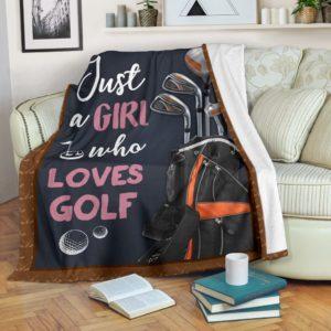 JUST A GIRL WHO LOVES GOLF PRE BLANKET@_golflifepro_JUvv236236@premium-blanket Just A Girl Who Loves Golf Pre Blanket Fleece Blanket, Personalized Gifts, Custom Blanket 586969
