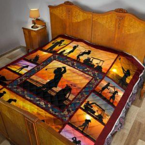 Golf Sunset Premium Quilt@_golflifepro_fghfh@quilt Golf Sunset Premium Quilt Fleece Blanket, Personalized Gifts, Custom Blanket 586952