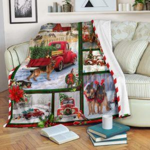GERMAN SHEPHERD CHRISTMAS BLANKET@_merchnera_gsd_christmas@premium-blanket German Shepherd Christmas Blanket Fleece Blanket, Personalized Gifts, Custom Blanket 586684