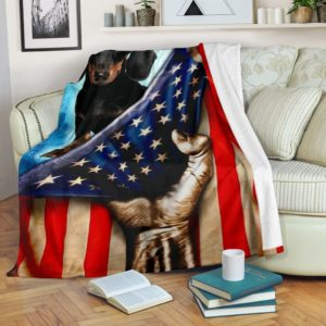 Dachshund Behind American Flag blanket@_shoppingmylife_ghhjjuyrkdskkoieoi@premium-blanket Dachshund Behind American Flag Blanket Fleece Blanket, Personalized Gifts, Custom Blanket 586138