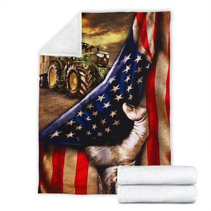 Blanket - Farmer - Tractor Flag@_weecreate4u_traclag@premium-blanket Blanket - Farmer - Tractor Flag Fleece Blanket, Personalized Gifts, Custom Blanket 585388
