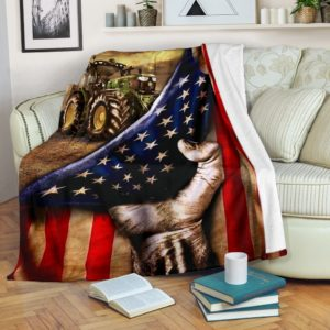 Blanket - Farmer - Tractor Flag@_weecreate4u_traclag@premium-blanket Blanket - Farmer - Tractor Flag Fleece Blanket, Personalized Gifts, Custom Blanket 585381