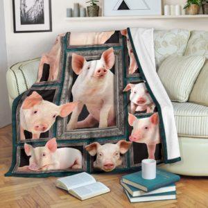 Blanket - Farms - 3D Pig@_weecreate4u_pig3b@premium-blanket Blanket - Farms - 3D Pig Fleece Blanket, Personalized Gifts, Custom Blanket 585251