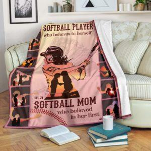 Blanket - Soflball - Behind softball player@_weecreate4u_sobehi@premium-blanket Blanket - Soflball - Behind Softball Player Fleece Blanket, Personalized Gifts, Custom Blanket 584902