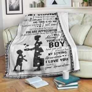 Blanket - Family - To my grandma - Woman to raise a man@_weecreate4u_gramason@premium-blanket Blanket - Family - To My Grandma - Woman To Raise A Man Fleece Blanket, Personalized Gifts, Custom Blanket 584863