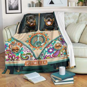 Blanket - Dogs - Camping Bus Rottweiler@_weecreate4u_rotcab@premium-blanket Blanket - Dogs - Camping Bus Rottweiler Fleece Blanket, Personalized Gifts, Custom Blanket 584487