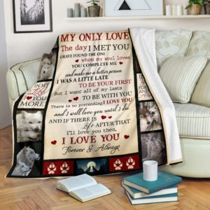 Blanket - Wolf - My only love@_weecreate4u_wolylo@premium-blanket Blanket - Wolf - My Only Love Fleece Blanket, Personalized Gifts, Custom Blanket 583020
