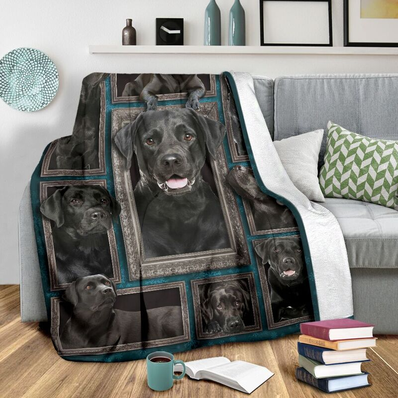 Blanket - Dogs - 3D Black labrador@_weecreate4u_bl3b@premium-blanket Blanket - Dogs - 3D Black Labrador Fleece Blanket, Personalized Gifts, Custom Blanket 582893