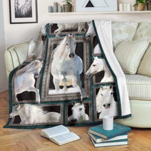 Blanket - Animals - 3D White horse@_weecreate4u_who3b@premium-blanket Blanket - Animals - 3D White Horse Fleece Blanket, Personalized Gifts, Custom Blanket 582864