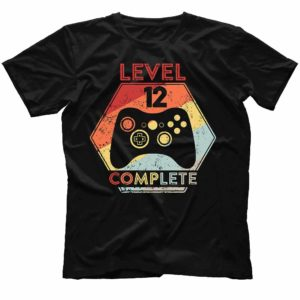 TS-U-Age-LvComp61-12 12th Anniversary Shirt. Level 12 Complete. Wedding Anniversary Gift. Awesome Since 2008. Gaming T-shirt for Husband. Gamer Birthday Gift. 528015