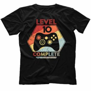 TS-U-Age-LvComp61-10 10th Anniversary Shirt. Level 10 Complete. Wedding Anniversary Gift. Awesome Since 2010. Gaming T-shirt for Husband. Gamer Birthday Gift. 482086