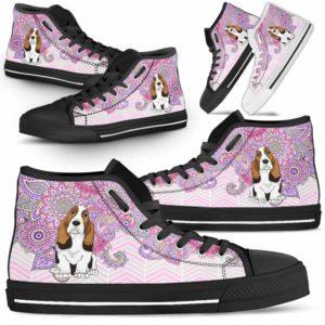HTS-W-Dog-PastelMandataTop-Basset_Hound-3@ High Top Pastel Mandala Top Dog Basset Hound 3 Basset Hound Dog Shoes. Basset Hound Shoes for Men Women. Cute Pastel Mandala High Top Shoes for Dog Lovers. Dog Mom Dog Dad Custom Shoes. 638003
