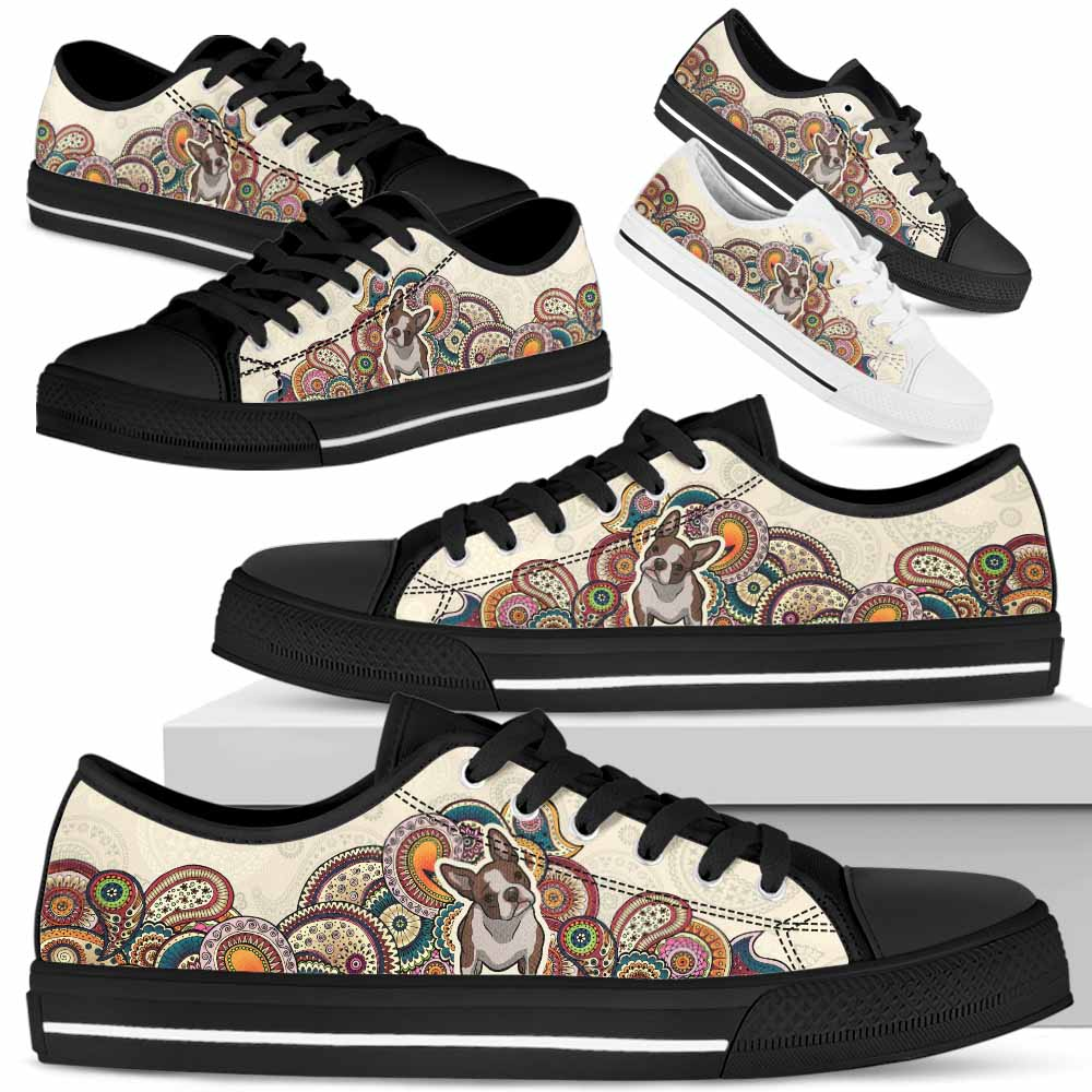 LTS-W-Dog-MandalaBot1-Boston_Terrier-7@ Low Top Mandala Bot Dog Boston Terrier 7 Mens Womens Boston Terrier Shoes. Boston Terrier Dog Shoes for Men Women. Mandala Low Top Shoes for Dog Lovers. Dog Mom Dog Dad Custom Shoes. 632841