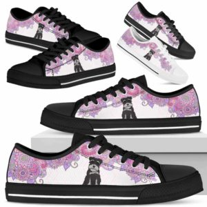 LTS-W-Dog-MandalaPastelTop-Schnauzer-59@ Low Top Pastel Mandala Top Schnauzer 59 Mens Womens Schnauzer Dog Shoes. Schnauzer Shoes for Men Women. Pastel Mandala Low Top Shoes for Dog Lovers. Dog Mom Dog Dad Custom Shoes. 625897