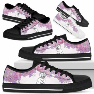 LTS-W-Dog-MandalaPastelTop-Westie-62@ Low Top Pastel Mandala Top Westie 62 Mens Womens Westie Dog Shoes. Westie Shoes for Men Women. Pastel Mandala Low Top Shoes for Dog Lovers. West Highland Terrier. Dog Mom Custom Shoes. 625214