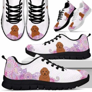 SS-W-Dog-PastelMandalaBack-Poodle-44@ Sneakers Pastel Mandala Back Poodle 44 Mens Womens Poodle Shoes. Poodle Dog Shoes for Men Women. Sneakers Gift for Dog Lovers. Pastel Mandala Dog Mom Dog Dad Custom Shoes. 620681