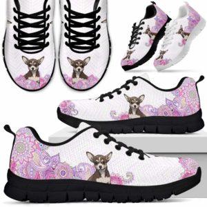 SS-W-Dog-PastelMandalaBack-Chihuahua-17@ Sneakers Pastel Mandala Back Chihuahua 17 Mens Womens Chihuahua Shoes. Chihuahua Dog Shoes for Men Women. Sneakers Gift for Dog Lovers. Pastel Mandala Dog Mom Dog Dad Custom Shoes. 618448