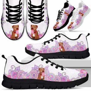 SS-W-Dog-PastelMandalaBot-Pit_Bull-43@ Sneakers Pastel Mandala Bot Pit Bull 43 Mens Womens Pit Bull Sneakers. Pit Bull Dog Shoes for Men Women. Gift for Dog Lovers. Pastel Mandala Dog Mom Dog Dad Custom Shoes. 615162