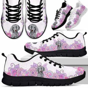 SS-W-Dog-PastelMandalaBot-Weimaraner-61@ Sneakers Pastel Mandala Bot Weimaraner 61 Mens Womens Weimaraner Sneakers. Weimaraner Dog Shoes for Men Women. Gift for Dog Lovers. Pastel Mandala Dog Mom Dog Dad Custom Shoes. 615038