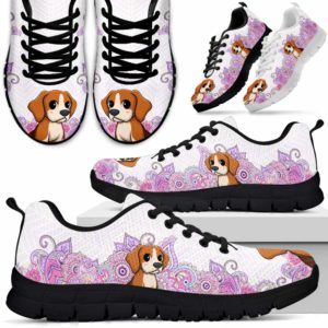 SS-W-Dog-PastelMandalaBot-Beagle-5@ Sneakers Pastel Mandala Bot Beagle 5 Mens Womens Beagle Sneakers. Beagle Dog Shoes for Men Women. Gift for Dog Lovers. Pastel Mandala Dog Mom Dog Dad Custom Shoes. 614666