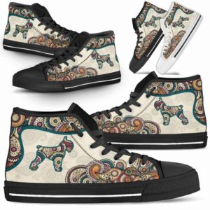 HTS-W-Dog-Mandala-Schnauzer-21@ High Top Mandala Schnauzer 21-Cute Mandala High Top Shoes for Dog Lovers. Schnauzer Shoes for Men Women. Schnauzer Dog Shoes. Dog Mom Dog Dad Custom Shoes.